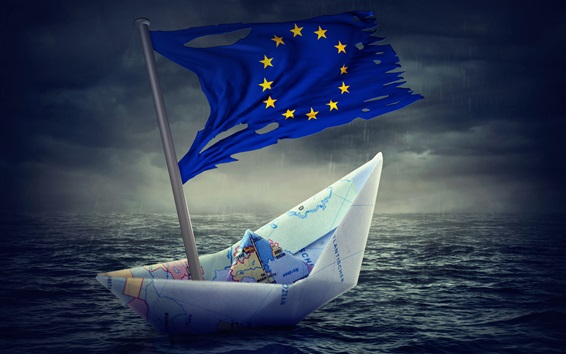 Wallpaper Paper boat, Flag of Europe, creative pictures