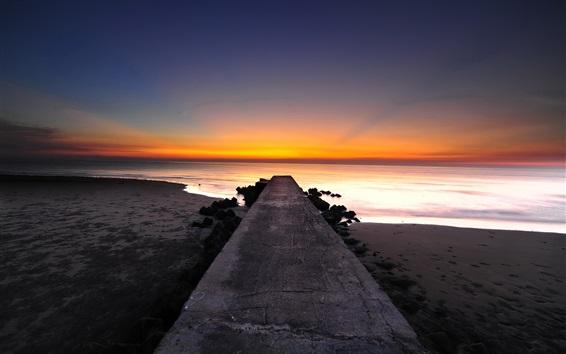 Wallpaper Pier, coast, beach, sunset, sea