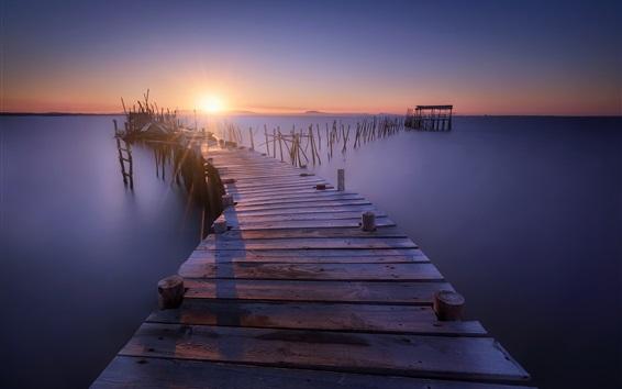 Papéis de Parede Cais, ponte de madeira, toco, mar, do sol, crepúsculo