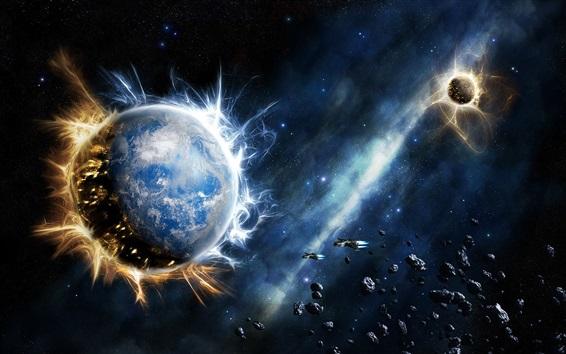Wallpaper Planets, stars, stones, spaceships