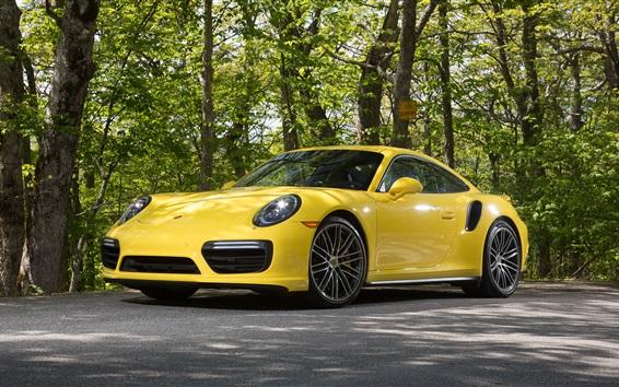 Обои Porsche 911 Turbo Coupe желтый суперкар