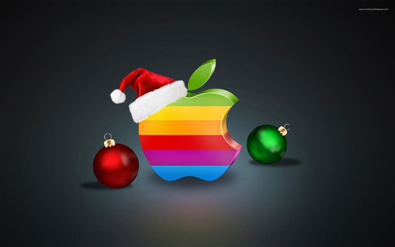 Rainbow colors Apple logo, Christmas balls and hat Wallpaper Preview