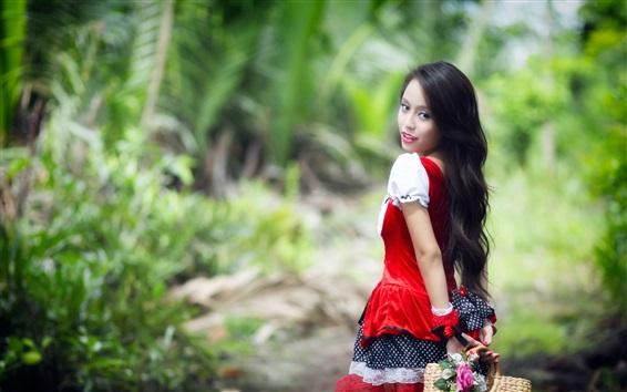 Wallpaper Red dress Asian girl look back