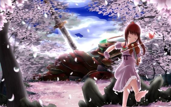 Wallpaper Red hair anime girl play violin, sakura petals, trees