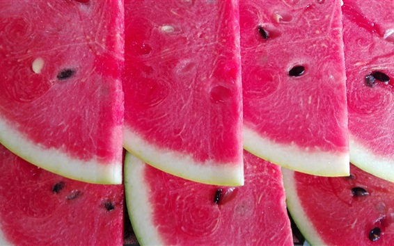 Wallpaper Red watermelon slice, delicious summer fruit