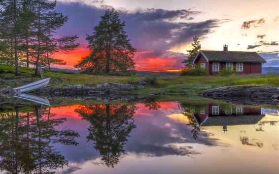 Wallpaper Ringerike, Norway, lake, water reflection, house, clouds, sunset