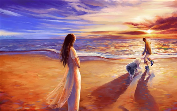 Wallpaper Romance time, walk at beach, sunset, painting