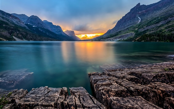 Wallpaper Saint Mary Lake, Glacier National Park, Montana, USA, sunset, mountains