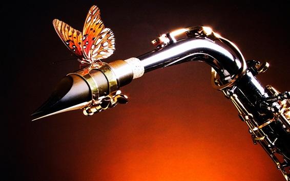 Fondos de pantalla Saxofón y la mariposa, tema de la música