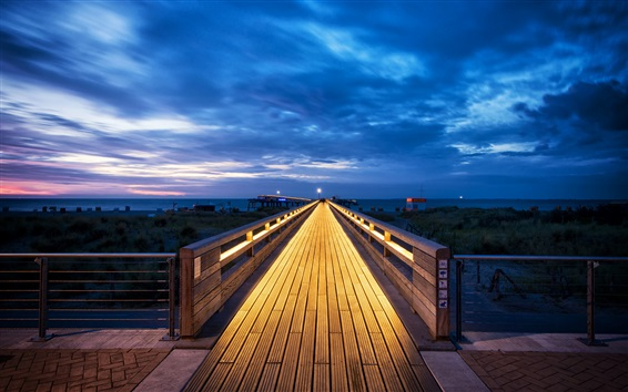 Wallpaper Schleswig-Holstein, Baltic Sea, Germany, wooden path, clouds, blue sky, night