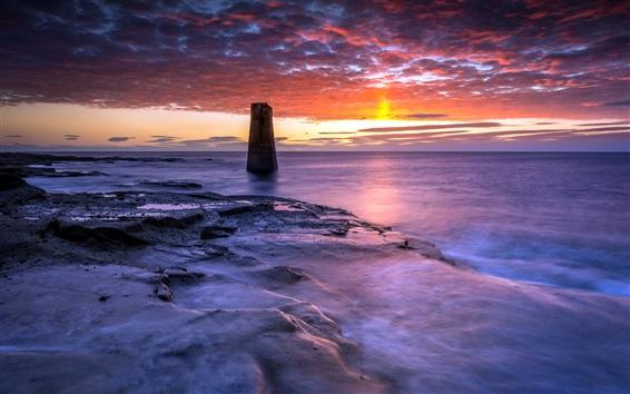 Wallpaper Sea, coast, rocks, sunset, red sky