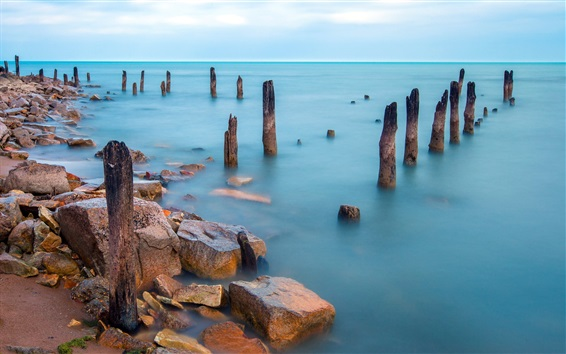 Wallpaper Sea, stump, dock, stones