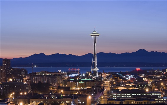 Papéis de Parede Seattle, noite, casas, luzes, torre, Space Needle