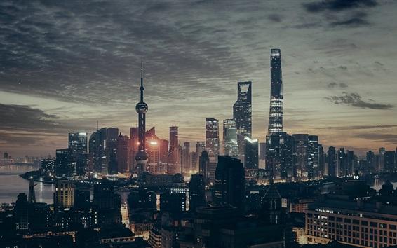 Wallpaper Shanghai night view, China cities, skyscrapers, lights, sea