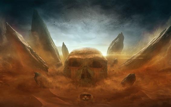 Wallpaper Skull, stones, desert, Desktopography art design