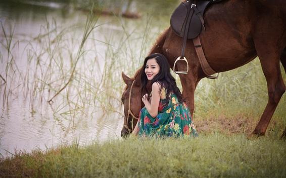 Wallpaper Smile Asian girl look back, horse