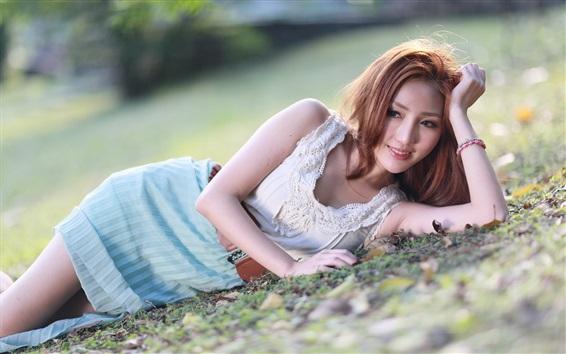 Wallpaper Smile Asian girl lying ground