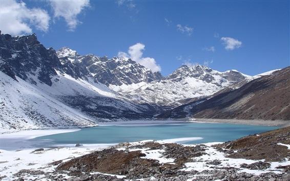 Wallpaper Snow mountains, lake