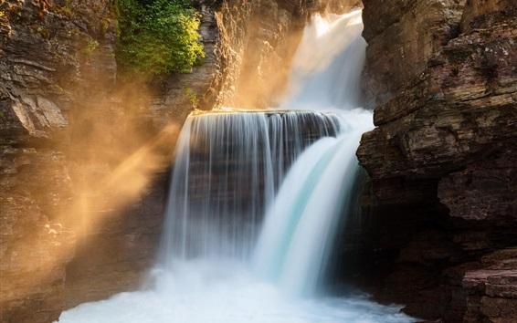 Wallpaper St. Mary Falls, Glacier National Park, Montana, USA