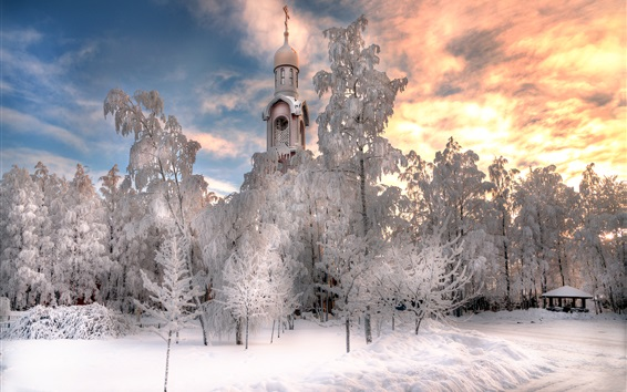 Wallpaper St. Petersburg, temple, winter, thick snow, trees, white world