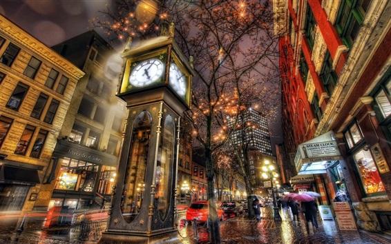 Papéis de Parede Vapor, relógio, cidade noite, luzes, Canadá