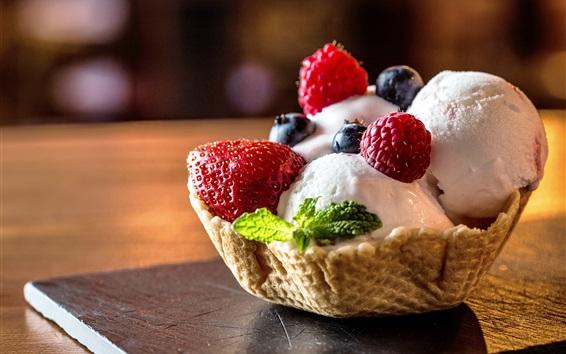 Wallpaper Summer dessert, ice cream, berries, mint