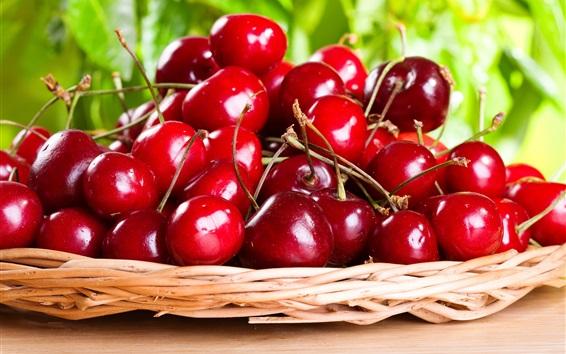 Wallpaper Sweet cherries, basket, fruit photography