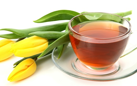 Wallpaper Tea drinks and yellow tulips