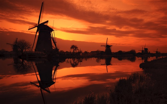 Wallpaper The Netherlands, windmills, river, red sky, evening