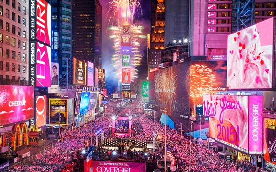 Wallpaper Times Square in New York City, USA, night, happy new year, people