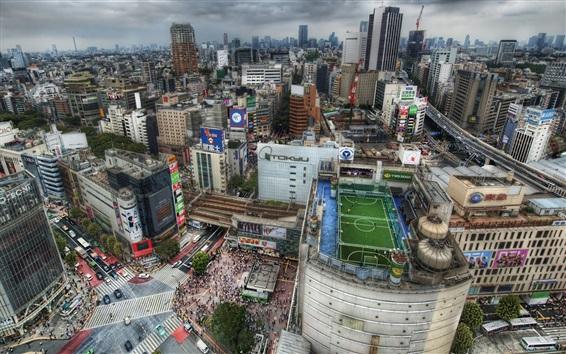 壁紙 夕暮れ時の東京、日本、大都市、住宅、屋根、都市