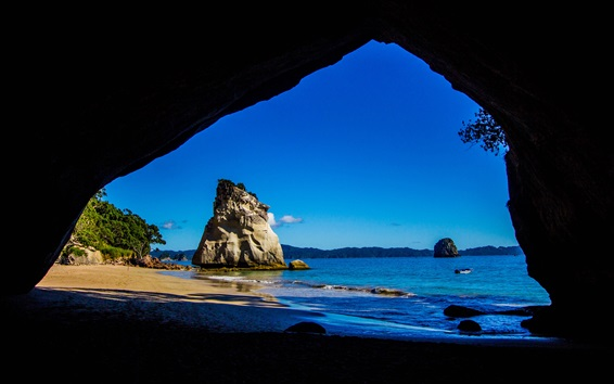 Wallpaper Travel to New Zealand, from Cathedral Caves look to the sea