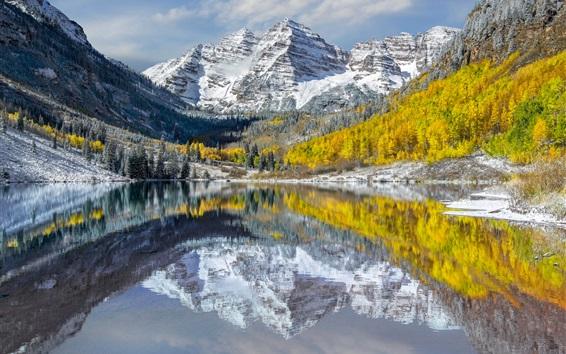 Wallpaper USA, Colorado, Elk Mountains, peaks, lake, snow, trees, autumn