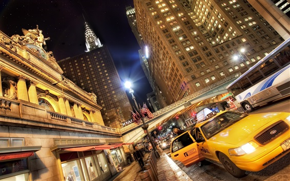 Fond d'écran villes Etats-Unis, la nuit, gratte-ciel, taxi, lumières