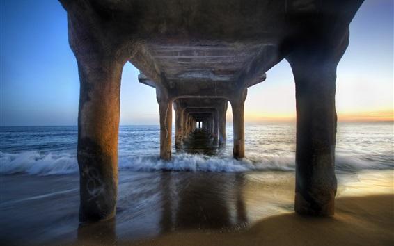 Wallpaper Under the pier bridge, beach, sea, coast