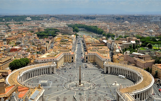 Wallpaper Vatican city, Rome, St. Peter's square, houses, road, people