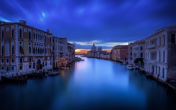 Wallpaper Venice city at night, houses, canal, calm water