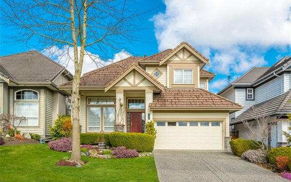 Wallpaper Villa, house, lawn, tree, clouds