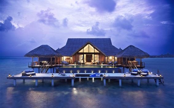 Wallpaper Villa in the sea, house, living room, lights, evening, resort