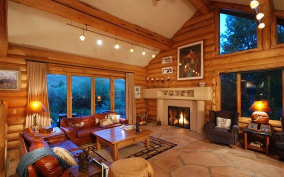 Fond d'écran Villa intérieur, canapé, cheminée, fenêtres, lumières