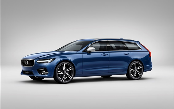 Wallpaper Volvo S90 blue car side view