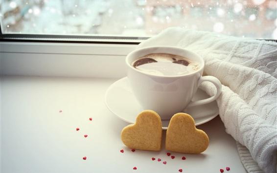 Papéis de Parede copo de café branco, dois corações de amor