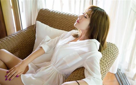 Wallpaper White dress Asian girl want to sleep