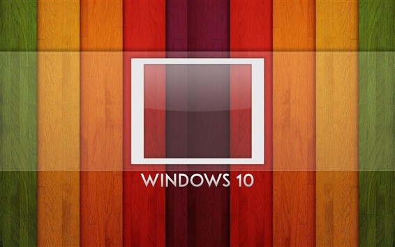 Wallpaper Windows 10 system, logo, rainbow background, wood board