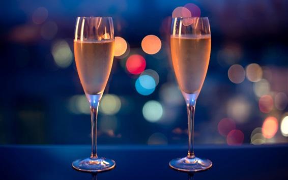 Wallpaper Wine glasses, drinks, glare, night