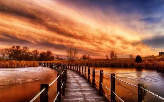 Wallpaper Wooden bridge, river, grass, nature sunset, clouds, red sky