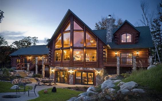 Wallpaper Wooden villa, night, house, lights, garden