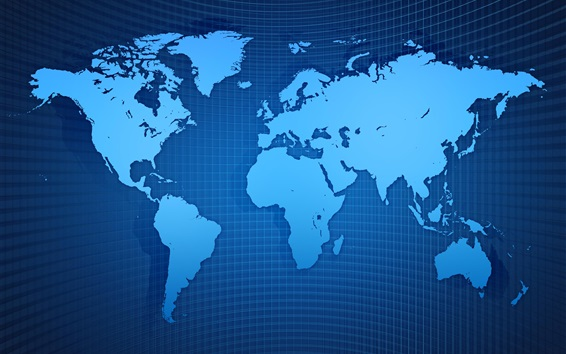 배경 화면 세계지도, 그리드, 푸른 스타일