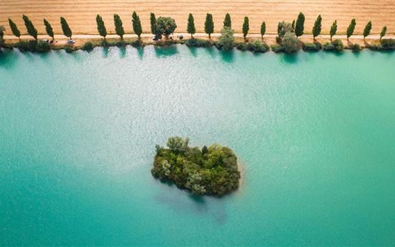 Wallpaper Yonne River, France, blue water, island, trees, fields