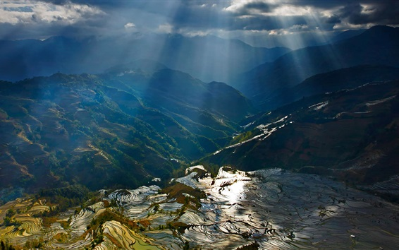Wallpaper Yuanyang terraces, mountains, sun rays, rice fields, China countryside